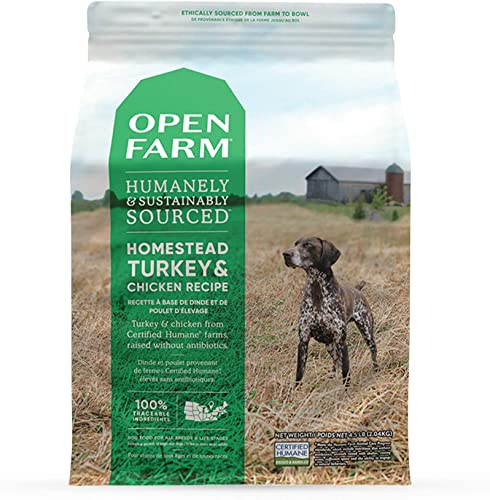 Open Farm Homestead Turkey and Chicken Grain-Free Dry Dog Food, 100 Certified Humane Poultry Recipe with Non-GMO Superfoods and No Artificial Flavors or Preservatives, 24 lbs