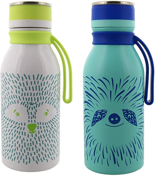 reduce Stainless Steel Hydro Pro Kids Water Bottle, 14oz - Vacuum Insulated Leak Proof Water Bottle for Kids - Great for On the Go and Lunchboxes - Furry Friends Design, Blue Sloth and White Raccoon