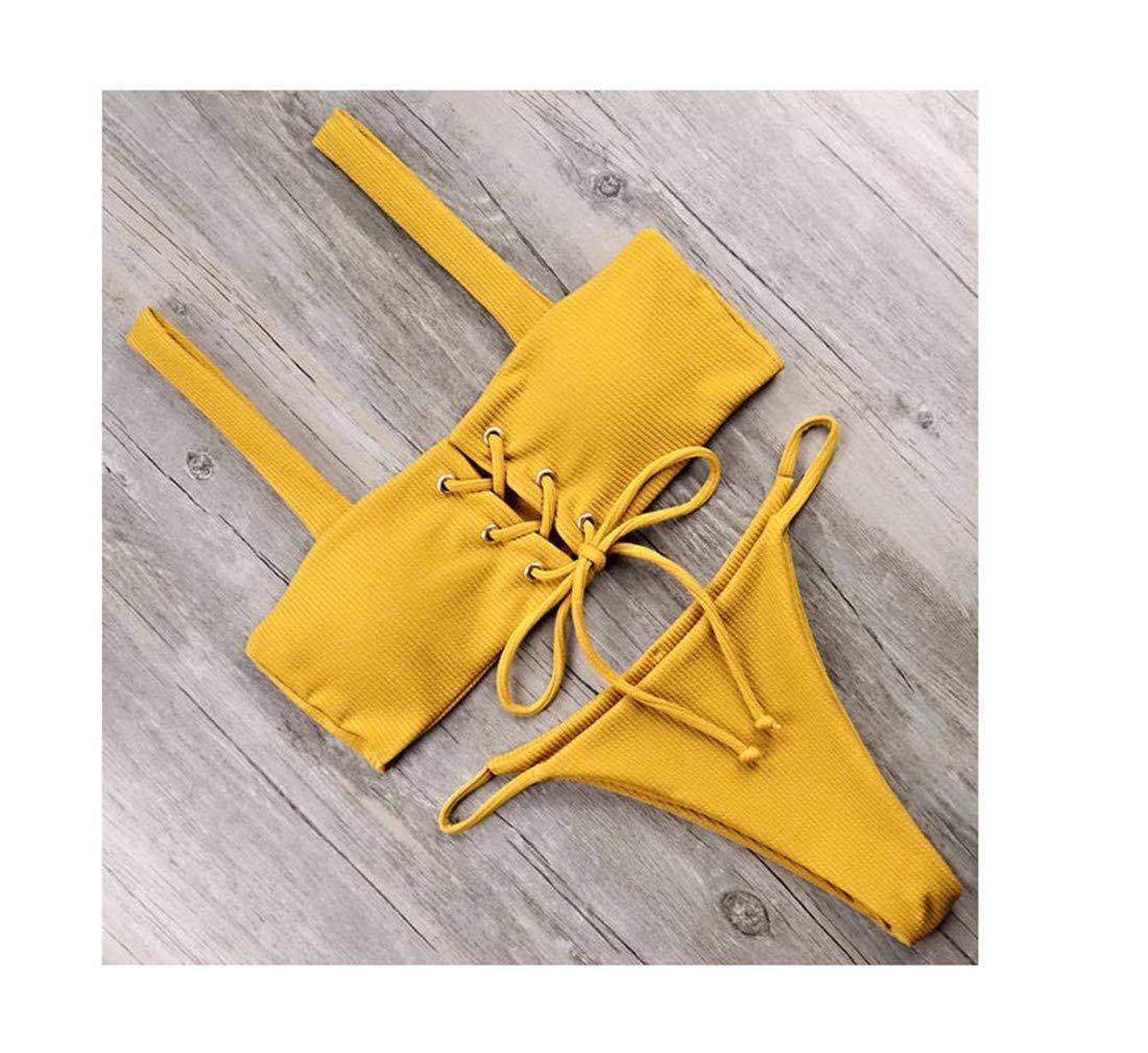 Ngjifvjishu Swimwear Women Push Up Bathing Suit Bandeau Solid Bikini Set
