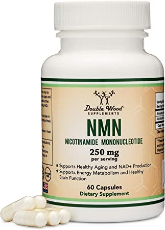 Double Wood Supplements NMN Stabilized Form - 60 Count, 250mg Servings - Nicotinamide Mononucleotide to Help Increase NAD+ Levels Like Riboside - Aids Healthy Aging, Maintaining Metabolism in Adults