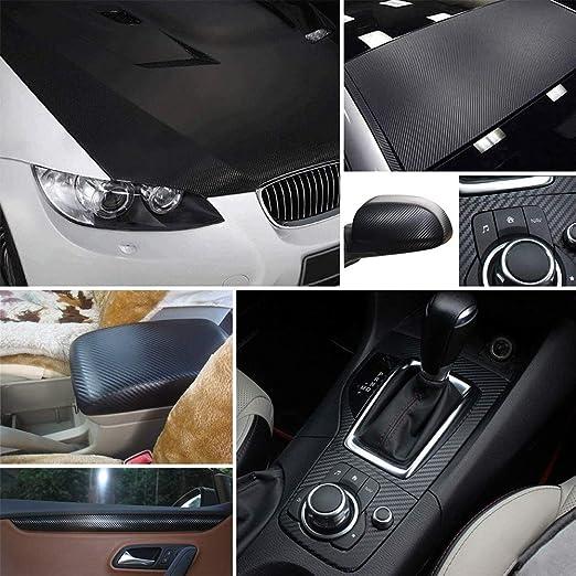 Hqcm 6d Auto Folie Selbstklebend Autofolie Aus Vinyl 300 30cm Wasserdichter Flexibel Carbon Folie Schwarz Mit Kunststoffschabern Auto