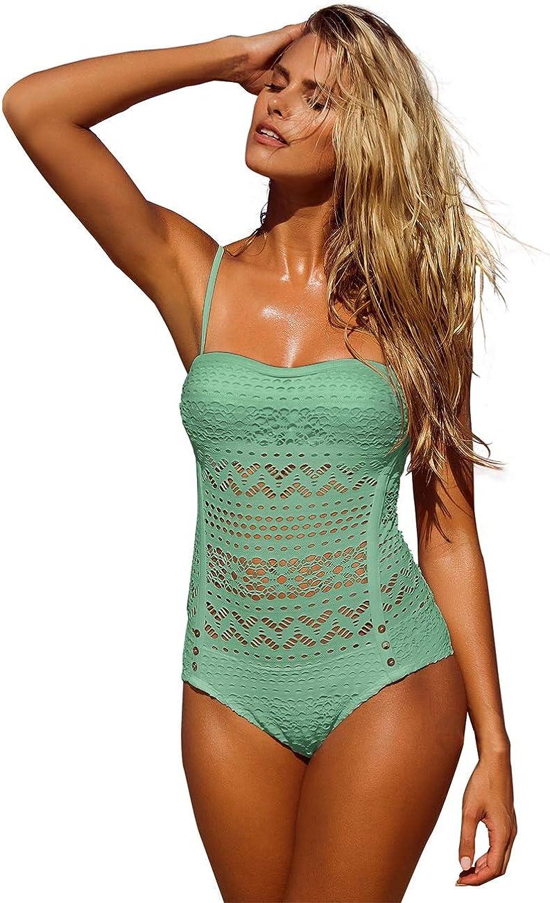 LookbookStore Women's Crochet Lace Halter Straps Swimsuits Bathing Suit US 0-16