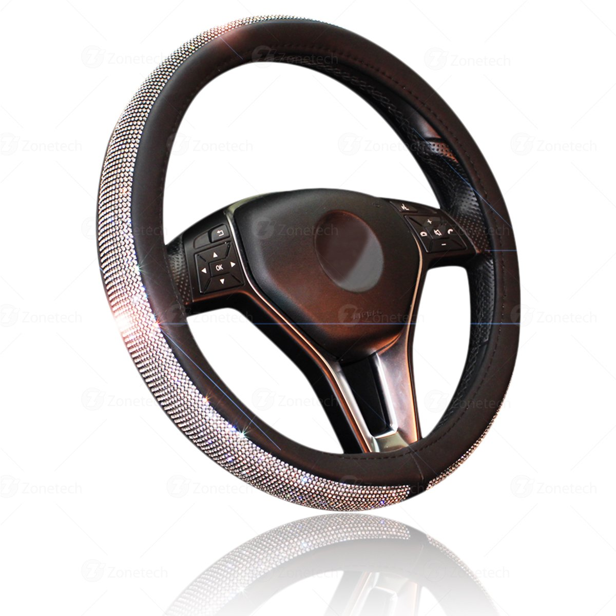 Car Crystal Bling Wheel Cover- Zone Tech Shiny Steering Wheels- Anti-Slip Rhinestones PU Leather Backing- Bling Shiny Diamond Wheel Protector Comfort Wheels