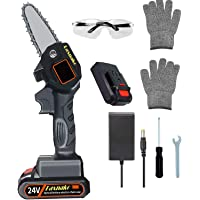 Mini Chainsaw, 4 Inch Cordless Electric Protable Chainsaw Rechargeable Lithium Battery Chainsaw 0.7kg Ultra-Light…