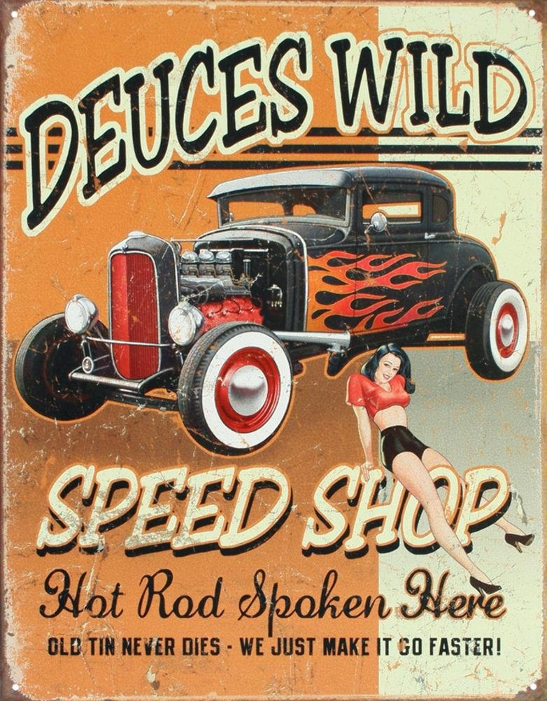 13x16 by Poster Discount Deuces Wild Speed Shop Hot Rod Distressed Retro Vintage Tin Sign Tin Sign