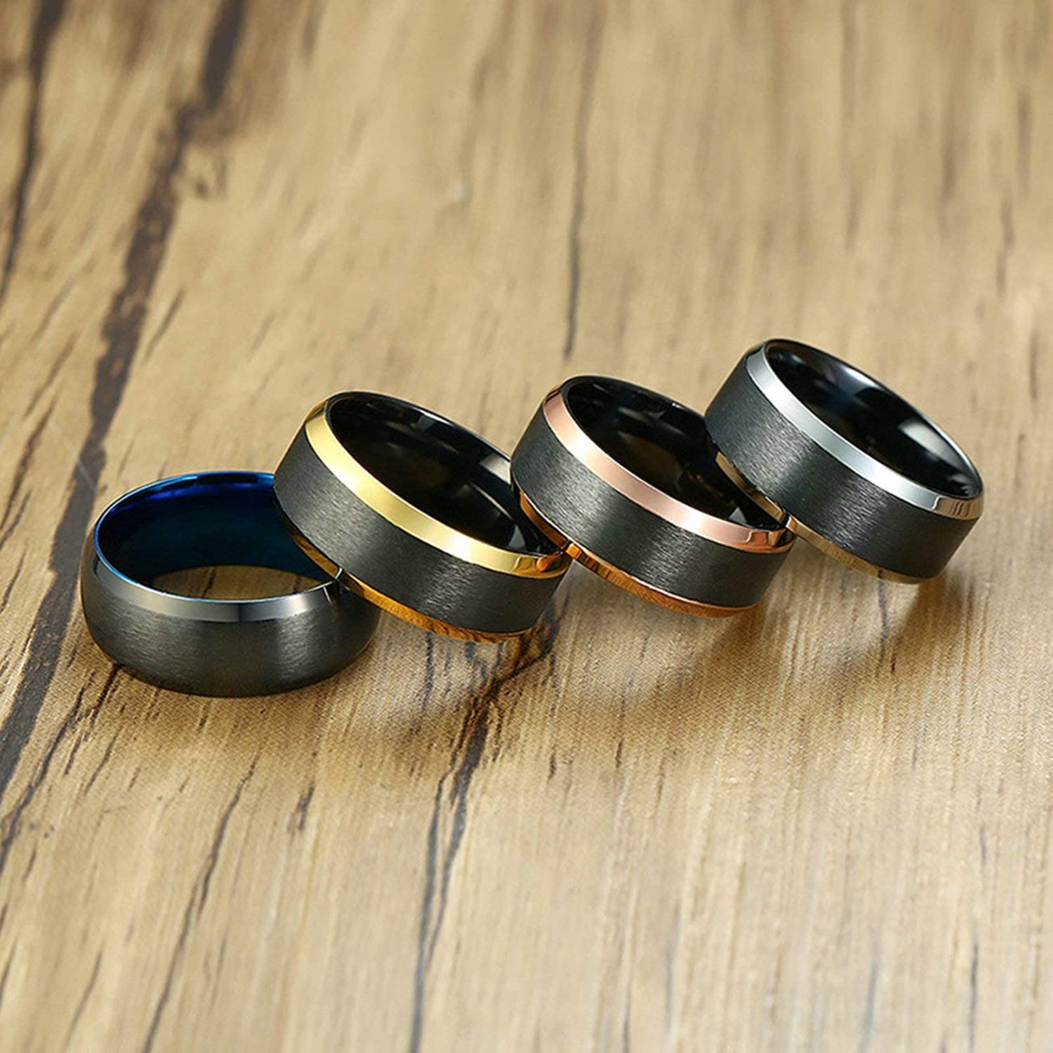 Aooaz Stainless Steel Wedding Bands Brushed Finished Ring for Women Men Black US Size 12