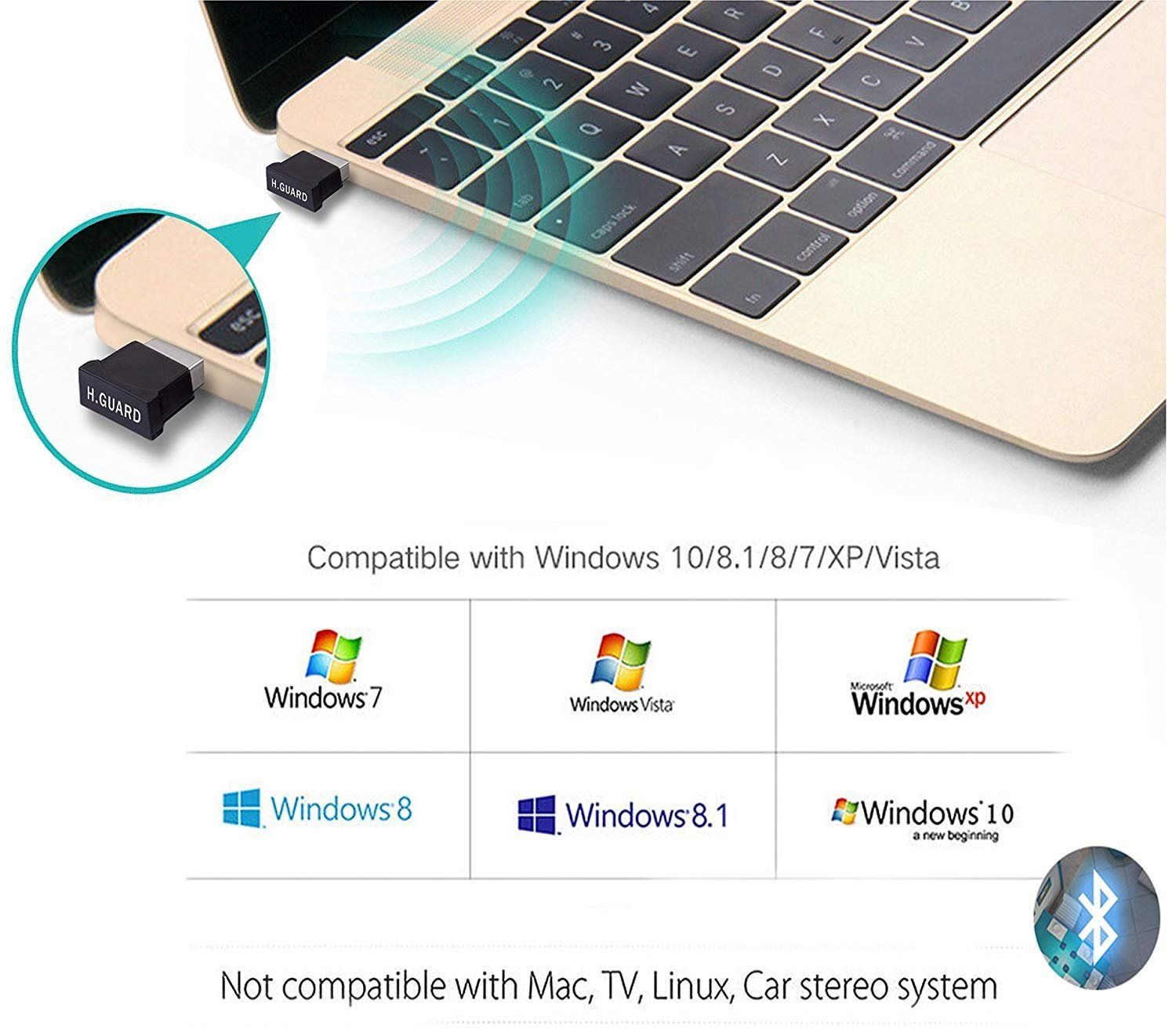 Bluetooth USB Adapter, Bluetooth 4.0 USB Dongle, Low Energy for PC, Wireless Dongle, for Stereo Music, Keyboard, Mouse, Support Windows 10 8.1 8 7 XP vista by JFen (Image #2)