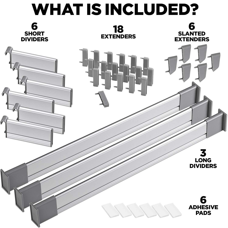 Elegante Organizzatore Modulare in Alluminio Set da 9 Divisori Breve | per Cassetti di Lunghezza 39cm - 44.5cm di Lungo Practical Comfort Divisori Regolabili per Cassetti da Cucina