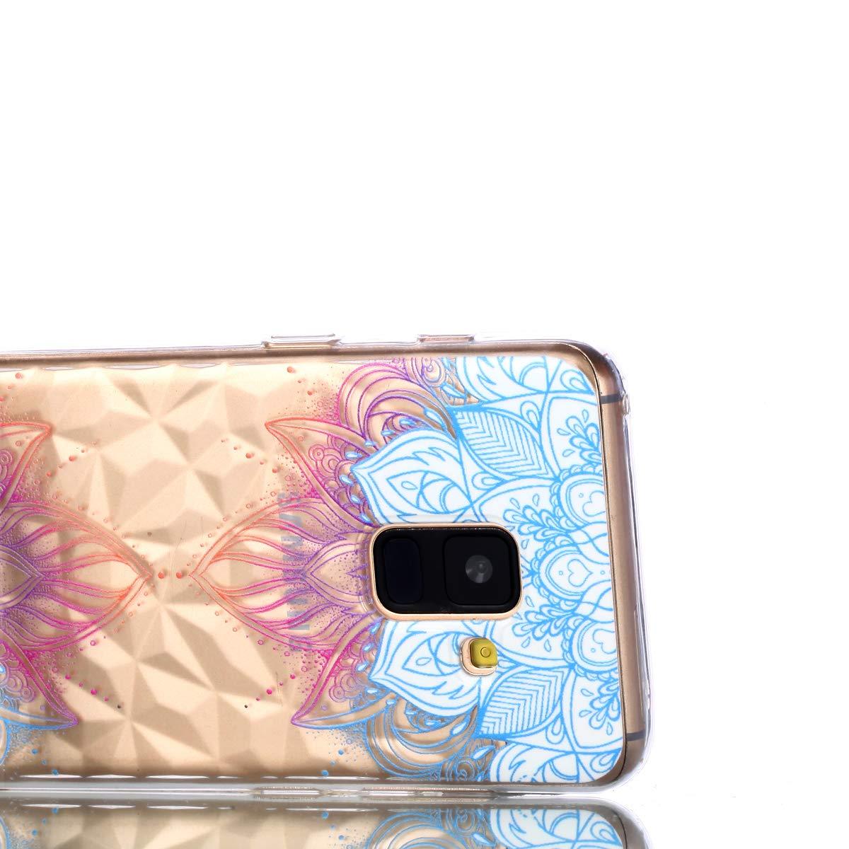 Flexible TPU Silicone Arri/ère Housse Couverture de Protection Artfeel Ultra Mince Souple Clair Coque pour Samsung Galaxy A8 2018,/Étui en Relief Fleur Mandala G/éom/étrique Motif