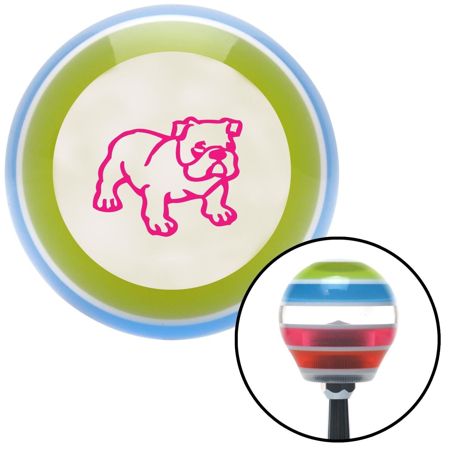 Pink English Bulldog American Shifter 130511 Stripe Shift Knob with M16 x 1.5 Insert