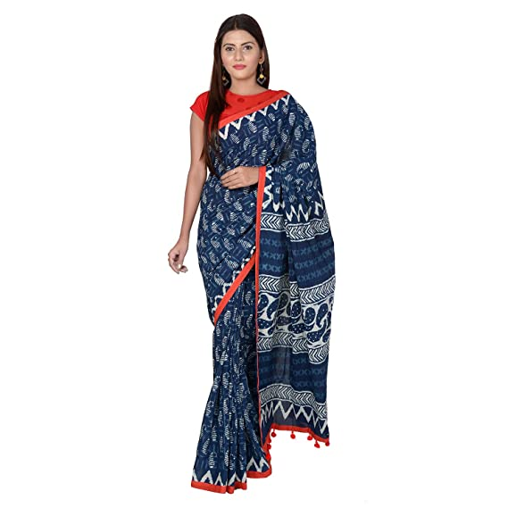 416a3cee162b97 PANVI Women s Hand Block Printed Indigo Blue Cotton Saree with Blouse  Piece
