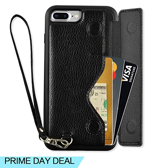 brand new d9cf0 f1cc2 ZVEdeng iPhone 7 Plus Wallet Case, iPhone 8 Plus Wallet Case, iPhone 7 Plus  Card Holder Case, iPhone 8 Plus Case with Card Holder, iPhone 7 Plus Case  ...