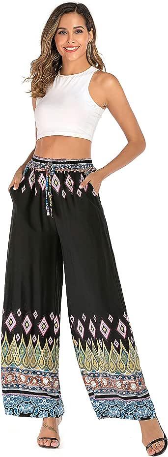 Love Welove Fashion Women's Summer Wide Leg Elastic High Waist Printed Boho Hippie Palazzo Pants Plus Size - Black - X-Large