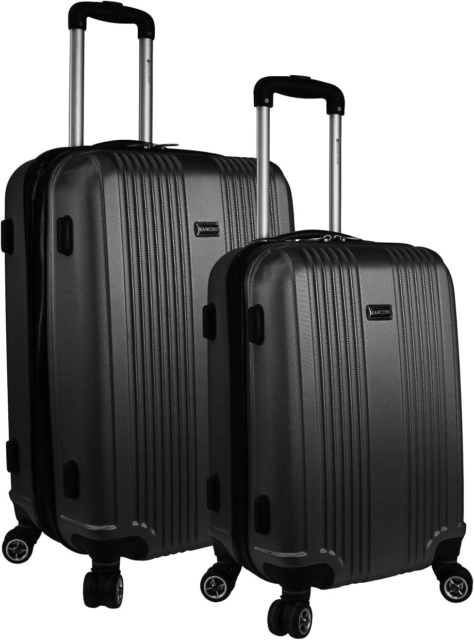 Mancini Santa Barbara Expandable Spinner 2 Piece Luggage Set in Black