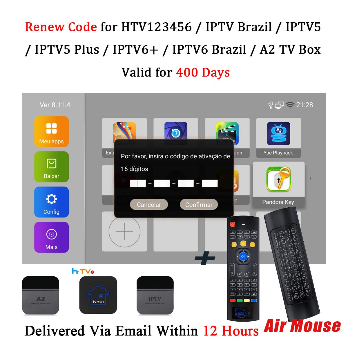 Renew Code for HTV 5 6 4 3 2 1 IPTV Brazil Box IPTV 6 5 Plus + Brazilian Subscription with Free WiFi Keyboard by BestTV