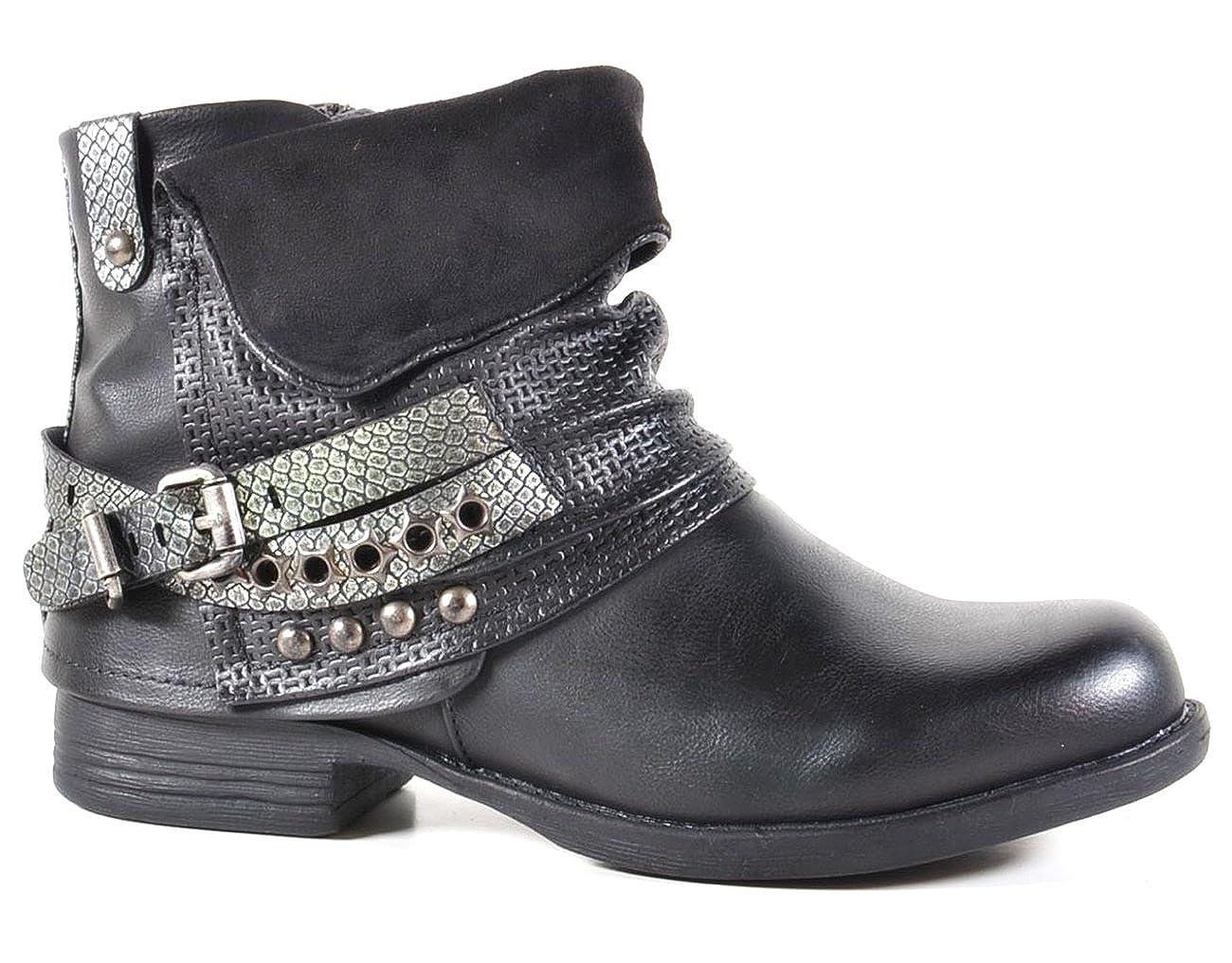 Damen Stiefeletten Biker Boots Nieten Schnallen Knöchelhohe Stiefel Leder- Optik QBZ2  Amazon.de  Schuhe   Handtaschen 3b682b3841
