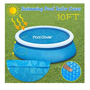 Round Pool Solar Cover Protector | 8/10ft Foot Above Ground Blue Protection Swimming Pool | Endothermic Protector Thermal Blanket | Place Bubble-Side Down in Pool (300X300CM(10ft))