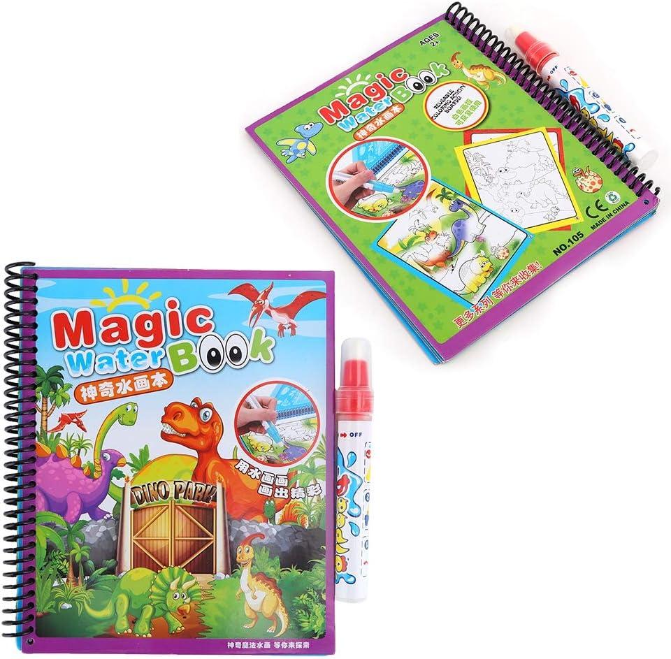 Malen mit Wasser Aktivit/ät B/ücher Zeichnen Malen Spielzeug Reise-Kits mit Wasser Stift f/ür Kinder Kleinkinder Kinder Tnfeeon Wasser Malbuch #2