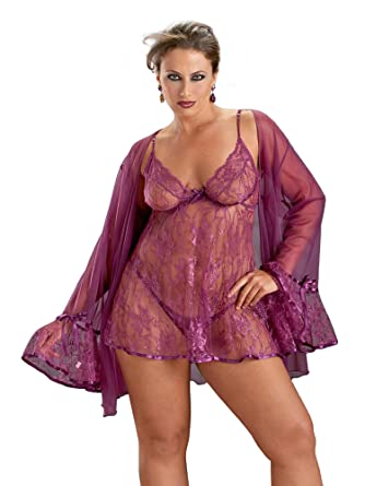914e63acad238 Amazon.com: Escante Womens Plus Size Lingerie Lace Babydoll & Coat Set:  Clothing