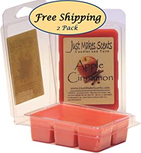 Just Makes Scents 2 Pack - Apple Cinnamon Scented Wax Melts   Hand Poured Apple Cinnamon Fragrance Wax Cubes   Made in The USA Candles & Gifts