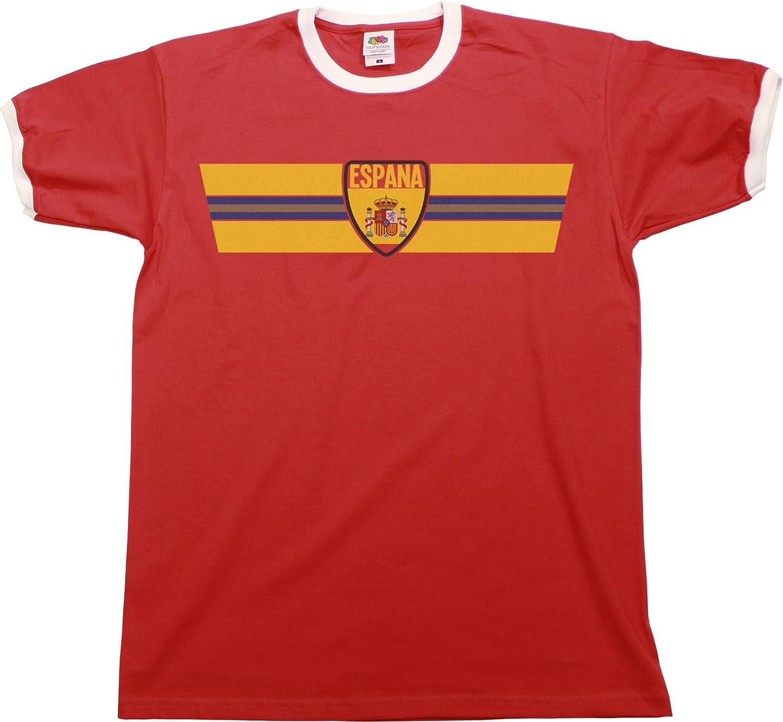 SPAIN SPANIEN Euro 2016 Retro Strip T-Shirt *Wahl der Herren Damen Kinder  Baby Wachsen*: Amazon.de: Bekleidung