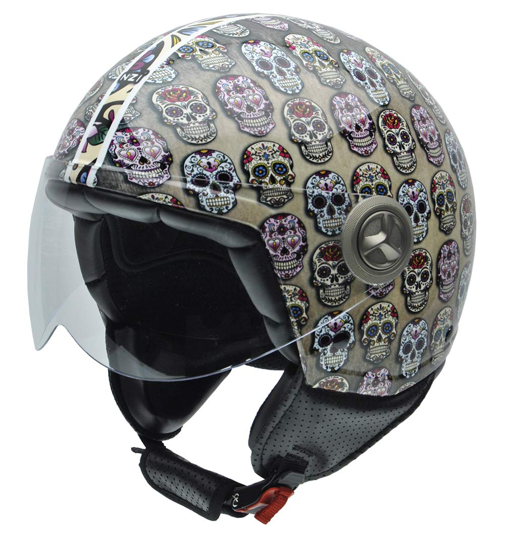 NZI 050004G582 Zeta Casco de Moto, Calaveras Mexicanas Multicolor, Talla 57 (M) NZI Technical Protection S.L.