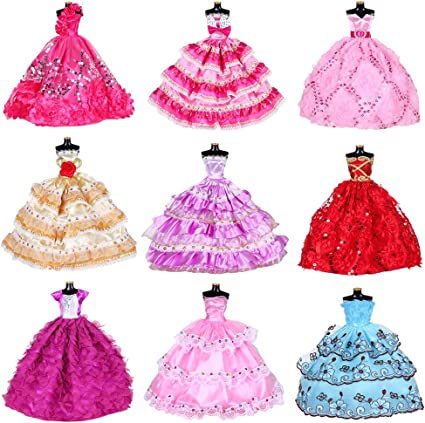 Doll Clothes Dresses For Barbie Girl Dolls 10 Pcs Lot Handmade Clothes For Bar