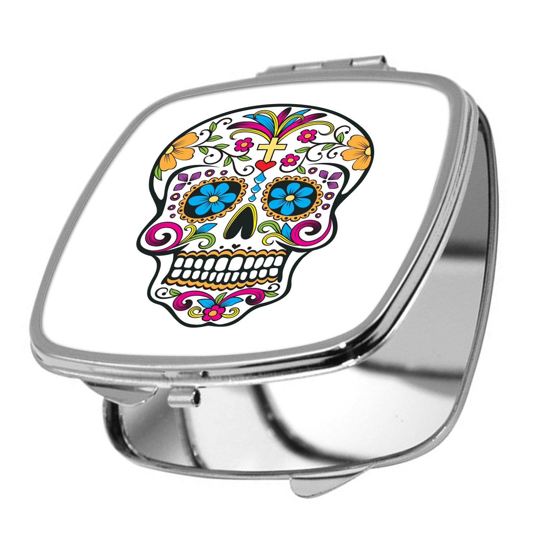 Yonacrea - Miroir de Poche - Tête de mort Mexicaine - Noir yonacrea_miroir00266