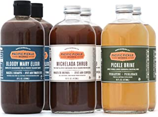 product image for Mixed Case of Savory Cocktail Mixers (16oz 6-pack) - Bloody Mary Elixir, Michelada Shrub and Pickle Brine
