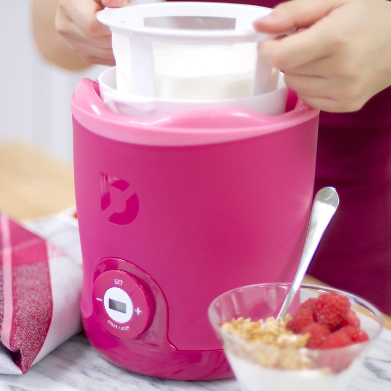 Yogurt Maker in Pink with 2 BPA Free Buckets & Greek Strainer