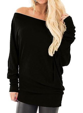 904d932c337 YOTGAP Women s Off Shoulder Shirts Long Sleeve Tees Tunics Loose Solid  Blouses Tops Black Small