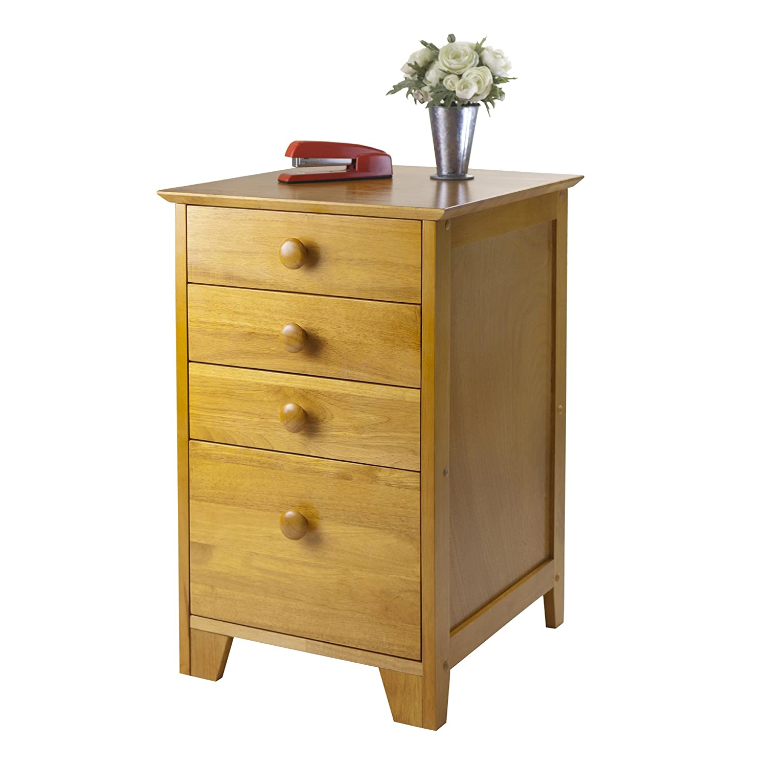 amazoncom honey pine filing cabinet extra storage drawers kitchen u0026 dining - Small Filing Cabinet