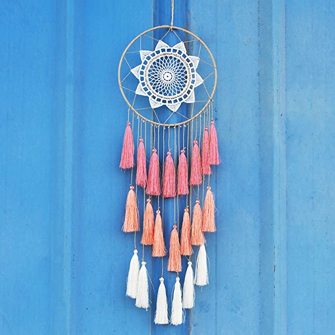 Artilady 8inch Handmade Tassel Dream Catcher Wall Decoration (Pink)