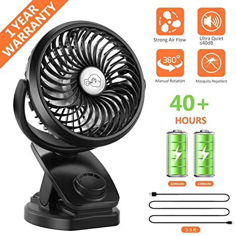 COMLIFE Battery Operated Clip on Portable Fan with 4400mAh Power Bank  Feature, Rechargeable Battery Personal Cooling Fan for Baby Stroller, 6-32  Hours