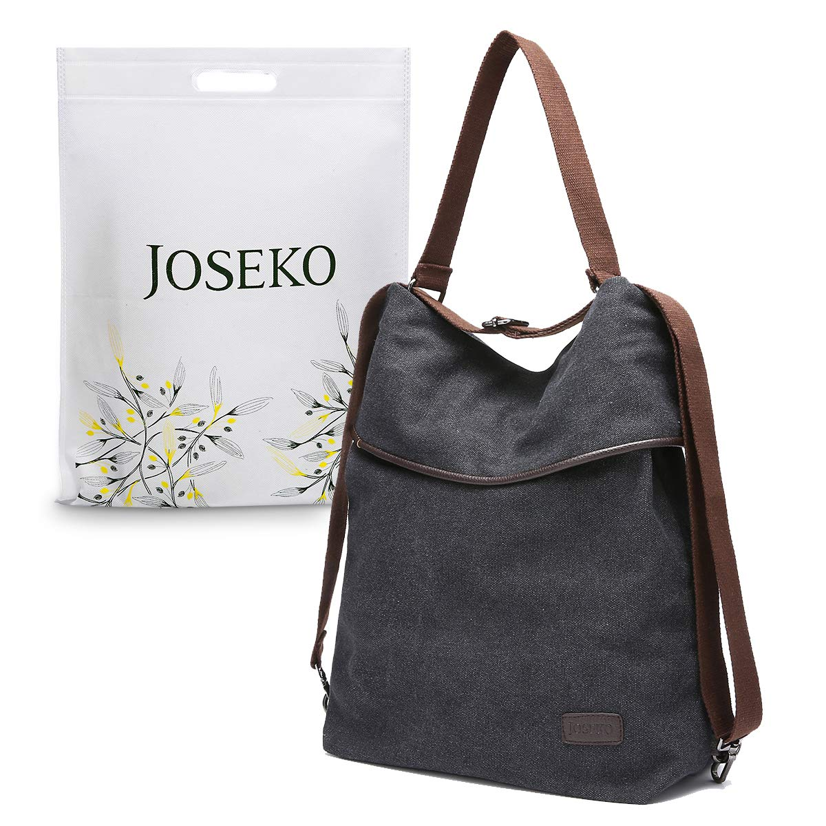 d94f072e30b Canvas Shoulder Bag Ladies Rucksack Vintage Handbags, JOSEKO Large Capacity  Backpack Bag Convertible Tote Multifunctional for Work Travel School ...