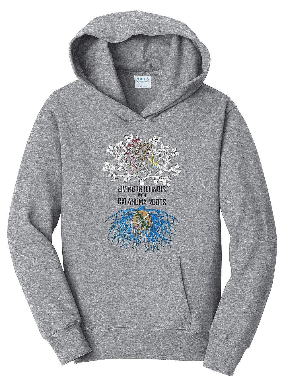 Tenacitee Girls Living in Illinois with Oklahoma Roots Hooded Sweatshirt