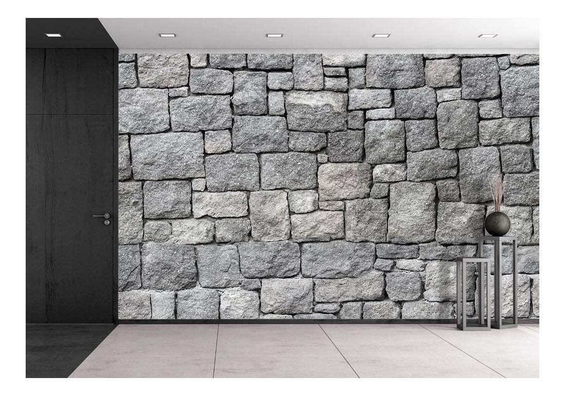 wall26 - Old Gray Stone Wall, Seamless Background Photo Texture - Removable Wall Mural | Self-Adhesive Large Wallpaper - 100x144 inches by wall26 (Image #1)