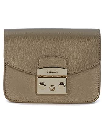 b541861ebe Borsa a tracolla Furla Metropolis Mini in pelle metallizzata bronzo:  Amazon.co.uk: Clothing