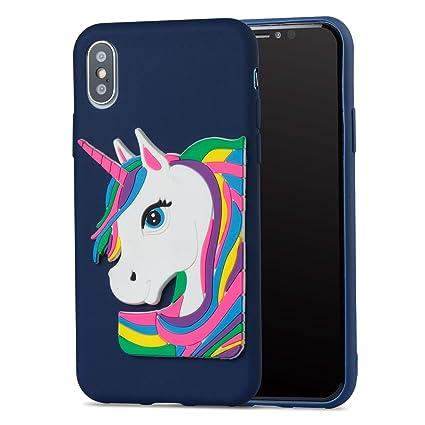 coque iphone x licorne bleu