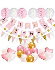 Geburtstagsdeko, Acelife Geburtstag Party Dekorationen Set für Mädche Jungen Frauen, Happy Birthday Girlande mit Luftballons und Wabenbälle Papier, Geburtstag Dekoration Rosa Weiß Pink Gold