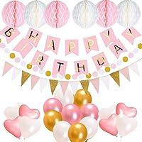 acetek Décorations Anniversaire, Anniversaire Bannière Décoration Fête en 1 * Banderole Happy Birthday+ 6 Pom Poms+ 20 Ballons+ 15 Triangle Bruant Drapeaux