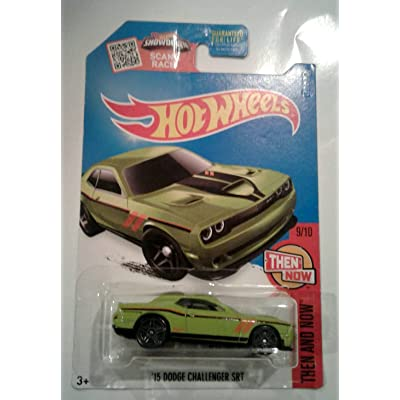 Hot Wheels 2016 Then and Now '15 Dodge Challenger SRT 109/250, Exclusive Lime Green: Toys & Games