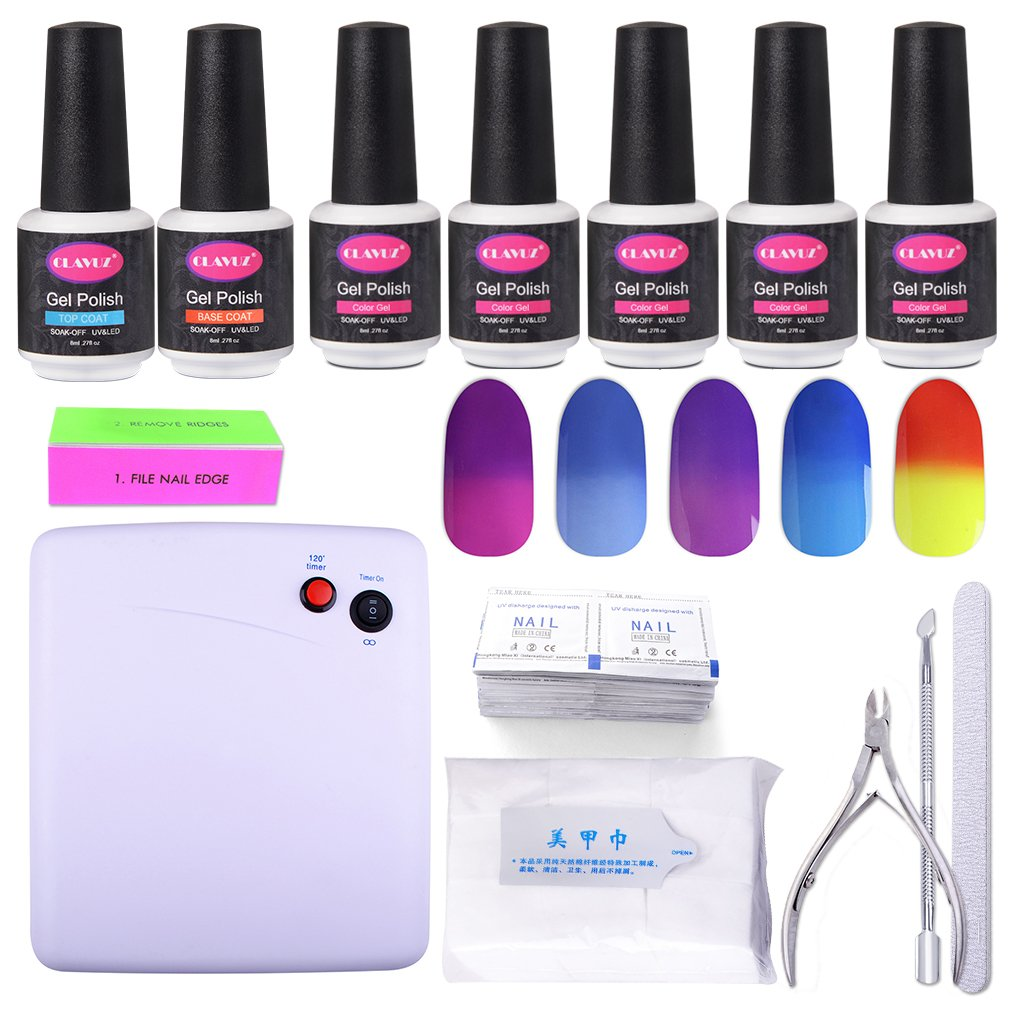 CLAVUZ Gel Nail Polish Sets with UV Lamp Soak Off Colour Changing Nail Lacquer Top and Base Coat Nail Remover Starter Nail Art Tool Kit CLAVUZ Gel Polish