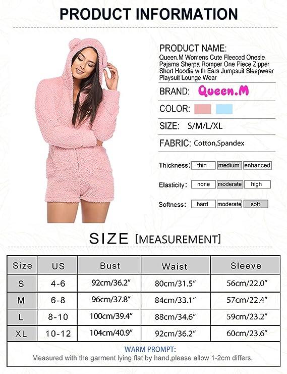 7d32e2c698 M Womens Fleeced Onesie Pajama Sherpa Romper One Piece Zipper Short Hoodie  Jumpsuit Sleepwear Playsuit Lounge Wear  Clothing