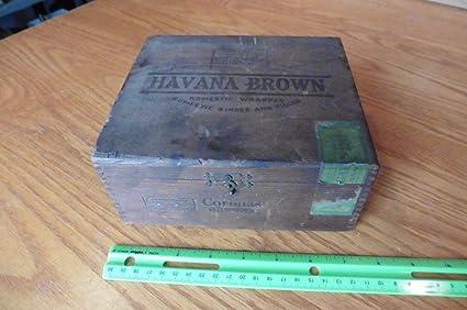 Amazoncom Havana Brown Cigar Box Vintage Wooden Dovetailed