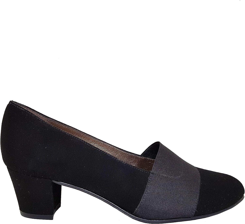 Gennia KATEJO - Salones Negros para Mujer con Punta Fina Redondeada Cerrada + Tacón Ancho 4 cm + Cierre con Elastico en el Hueco del Zapato