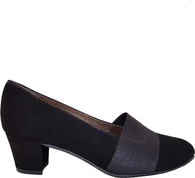 KATEJO - Zapatos Salones Negros para Mujer con Punta Fina Redondeada Cerrada + Tacón Ancho 4 cm + Cierre con Elastico en el Hueco del Zapato - Hechos en España - Planta con Esponja