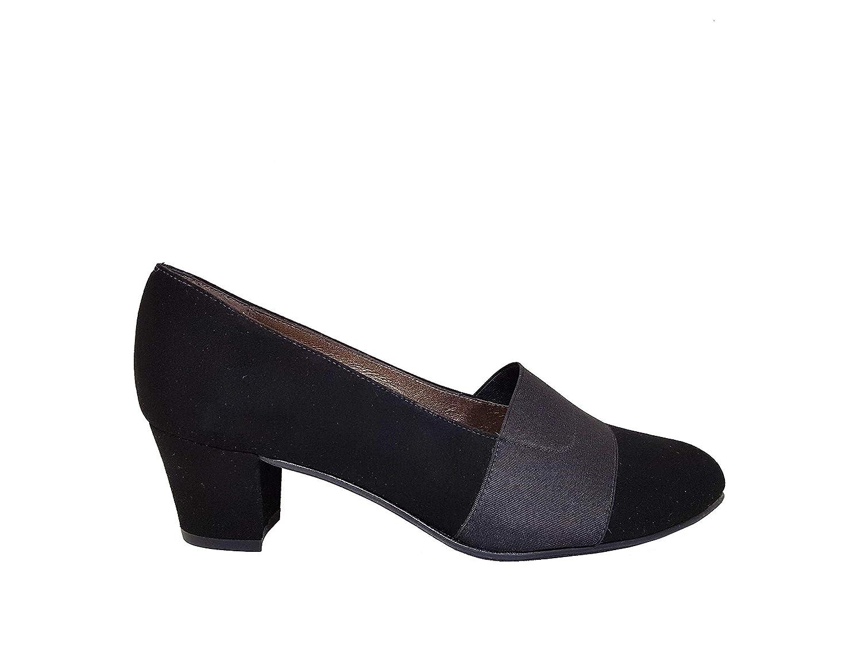 Gennia KATEJO - Salones de Piel Ante Negro para Mujer con Punta Fina Redondeada Cerrada + Tacón Ancho 4 cm + Cierre con Elastico en el Hueco del Zapato