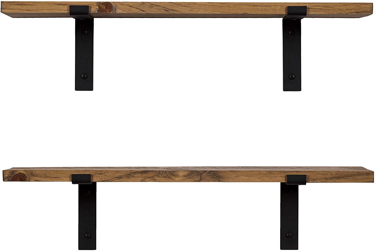 Set of 2 Reclaimed Imperative D/écor Reclaimed Rustic Barnwood Farmhouse Floating Shelves Wall Mounted Wood Storage Shelf with L Brackets USA Handmade 24 x 5.5in