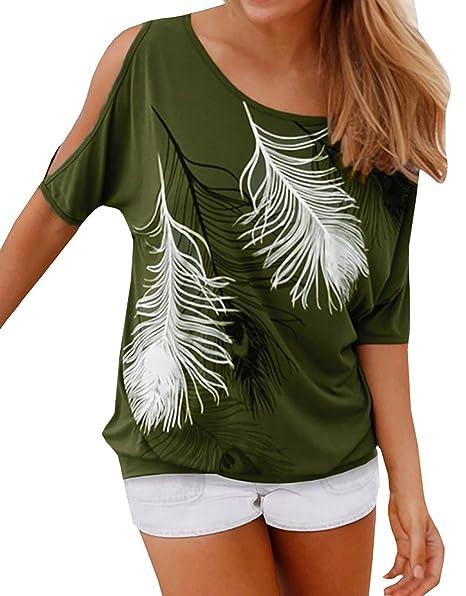 03a22ee66bf6 HIMONE Sommer Frauen Bluse weg von der Schulter Short Sleeve Feder Druck  Muster Jumper Tops T-Shirt  Amazon.de  Bekleidung